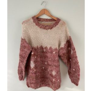 Ivory and Pink Knitted Sweater